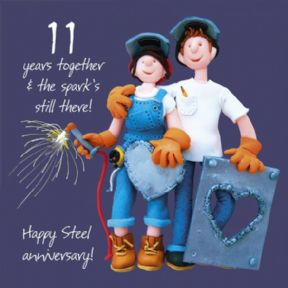 Steel 11th Wedding Anniversary Card